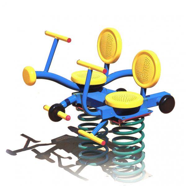 מתקן קפיץ כפול ממתכת דגם אופנוע - פיברן מומחים בפיתוח מתקנים לגני שעשועים