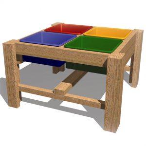 שולחן חול 4 מדורים דגם P-9709 לפעילות בחצר גני ילדים ,פיברן מתמחים בייצור