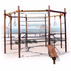 מתקן כושר מתומן מעץ לפארקים ,פיברן מומחים בפיתוח מתקני כושר וספורט