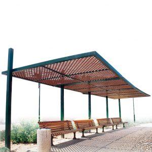 פרגולה ענבר לשטחים ציבוריים, מבית פיברן המומחים בייצור והתקנה של ריהוט רחוב