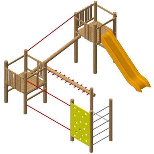 מערכת ספורט ומשחק משולבת מעץ דגם EKO2116 | פיברן מתקני משחק וריהוט רחוב