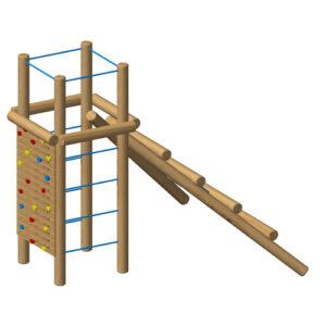 מגדל לטיפוס וספורט אתגרי לילדים מעץ רוביניה , פיברן מומחים למתקני שעשועים