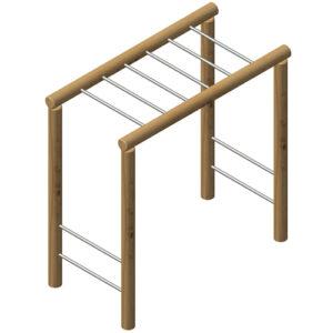 מתקן ספורט וכושר סולם אופקי מעץ רוביניה, פיברן המומחים ליצור מתקני שעשועים
