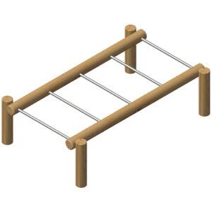 מתקן הליכה אתגרי לשיווי משקל מעץ רוביניה, פיברן מומחים לייצור מתקני שעשועים