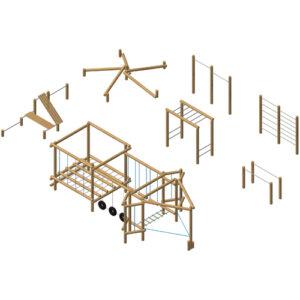 מערכת כושר וספורט מעץ רוביניה משולבת, פיברן מומחים בייצור מתקני משחק וכושר