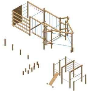 מערכת ספורט וכושר מעץ רוביניה למראה טבעי ואורגני, פיברן מומחים למתקני משחק