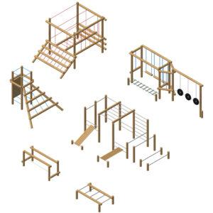 מערכת של מתקני כושר וספורט מעץ רוביניה, פיברן מומחים במתקני משחק לפארקים
