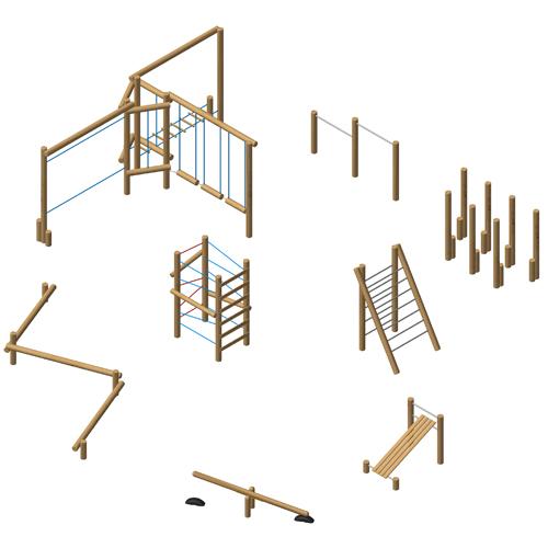 מערכת כושר וספורט עמידה מעץ רוביניה, פיברן מומחים למתקני משחק