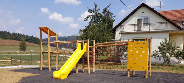 מערכת ספורט אתגרי עם מגלשה מעץ דגם מבצר | פיברן מתקני משחק וריהוט רחוב