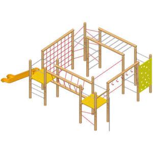 מערכת ספורט משולבת לטיפוס ומשחק דגם מצודה | פיברן מתקני משחק וריהוט רחוב