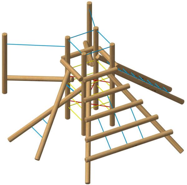 מתקן משחק משולב אתגרי מעץ רוביניה דגם 2072A, פיברן מתקני משחק