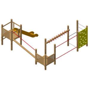מערכת ספורט ומשחק לפעוטות מעץ רוביניה EKO2115 | פיברן יצור מתקני שעשועים