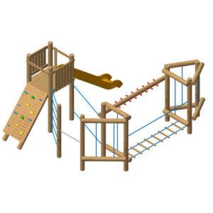 מערכת משולבת לטיפוס ושיווי משקל אתגרי לילדים, פיברן מומחים למתקני שעשועים