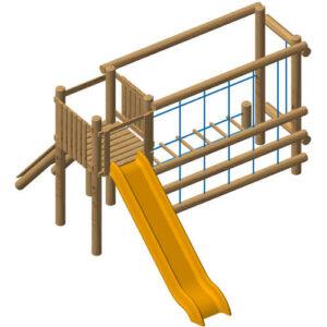 מתקן אתגרי לילדים לטיפוס ושיווי משקל מעץ , פיברן מומחים לייצור מתקני שעשועים