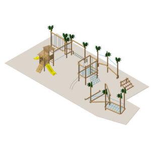 מערכת משחק ופעילות לילדים מעץ דגם אוקינוס, פיברן מומחים לייצור מתקני שעשועים