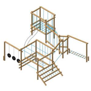 """מערכת ספורט ופעילות אתגרי במיוחד לילדים מעץ דגם """"מפרץ ההרפתקאות"""" של פיברן"""