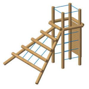 מתקן משחק משולב אתגרי מעץ רוביניה ,פיברן מומחים בייצור מתקני משחק וכושר!