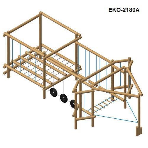 מתקן כושר וספורט משולב מעץ רוביניה, פיברן מומחים למתקני משחק לגני שעשועים