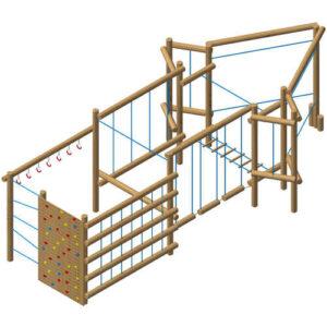 מתקן אתגרי מיוחד מסדרת מתקני השעשועים מעץ רוביניה של חברת פיברן
