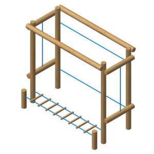 מתקן כושר וספורט מאתגר מעץ רוביניה , פיברן מומחים בייצור מתקני משחק וספורט
