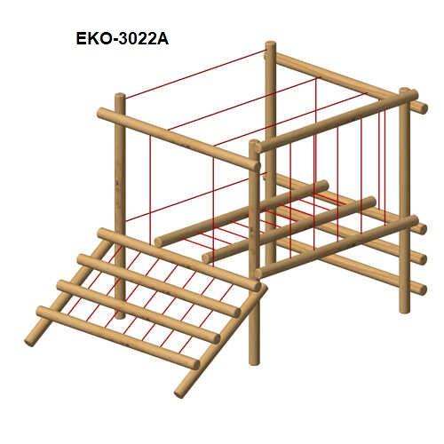 מתקן משולב לטיפוס מעץ רוביניה 3022A, פיברן מומחים למתקני משחק