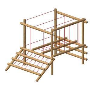 מתקן משולב אתגרי קטן מעץ רוביניה , פיברן מומחים בייצור מתקני משחק וספורט