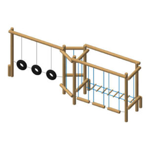 מתקן כושר וספורט מעץ רוביניה דגם EKO-3024 -פיברן מומחים למתקני משחק