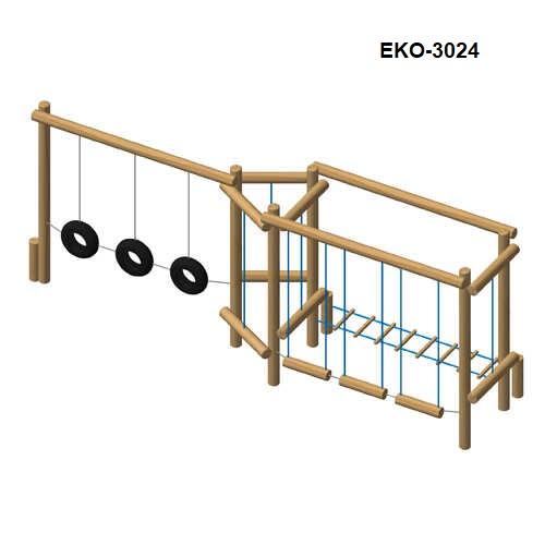 מתקן כושר וספורט משולב מעץ רוביניה דגם EKO-3024, פיברן מתקני משחק