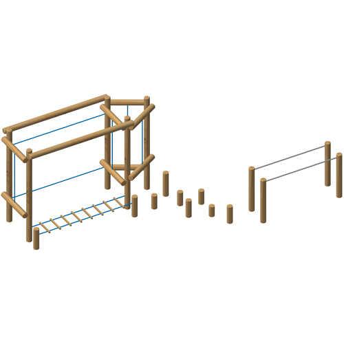 מתקן מסלול משולב אתגרי לילדים מעץ רוביניה | פיברן מתקני משחק וריהוט רחוב