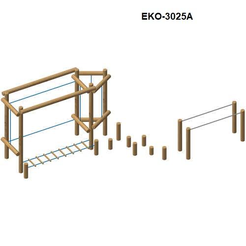 מתקן משולב כושר וספורט מאתגר מעץ רוביניה, פיברן מומחים למתקני משחק