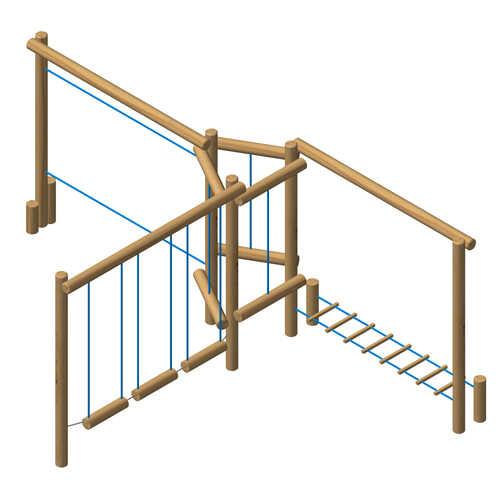מתקן משחק מסלול אתגרי 4 אלמנטים מעץ רוביניה-פיברן מומחים למתקני שעשועים