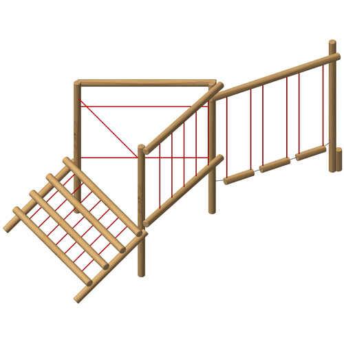 מתקן מסלול משולב מאתגר 5 תחנות מעץ רוביניה | פיברן מתקני משחק וריהוט רחוב