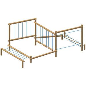 מתקן מסלול משולב אתגרי 6 אלמנטים מעץ רוביניה | פיברן מתקני משחק וריהוט רחוב