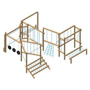 """מערכת ספורט משחק ופעילות אתגרי לילדים מעץ """"מירוץ שליחים"""" של פיברן מתקנים"""