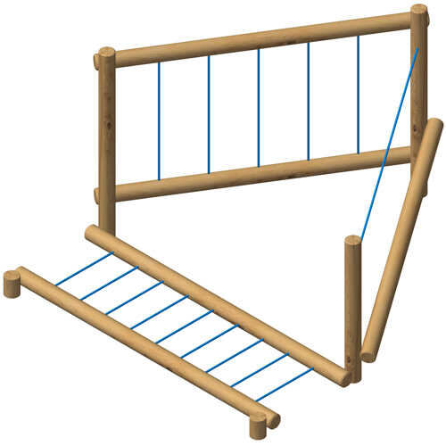 מתקן משחק מסלול אתגרי3 אלמנטים מעץ רוביניה-פיברן מומחים למתקני שעשועים