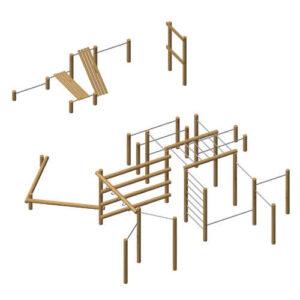 פארק עם מתקני כושר ציבוריים מעץ רוביניה, פיברן מומחים לייצור מתקני משחק וכושר