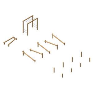 מערכת מתקני כושר ציבוריים מעץ רוביניה, פיברן מומחים לייצור מתקני משחק וכושר